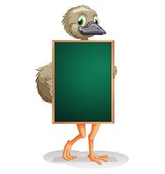 An ostrich holding an empty blackboard vector