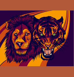 Angry male lion versus tiger vector