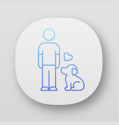 Animals welfare and help app icon pup and master vector