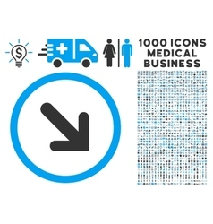 Arrow Right-Down Icon with 1000 Medical Business vector