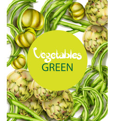 artichokes green peas and tomatoes watercolor vector image