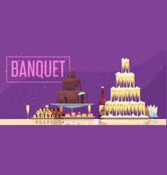 Banquet horizontal banner vector