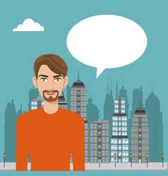 Beard man talking bubble city background vector