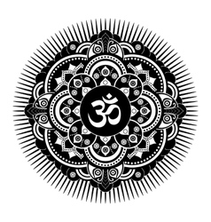 Black and white henna tatoo mandala OM vector image