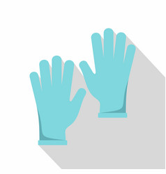 blue medical gloves icon flat style vector image