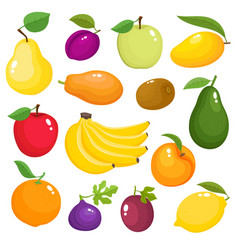 Bright set of fresh cartoon fruits isolated vector