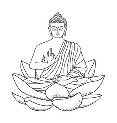 Buddha sitting on lotus vector