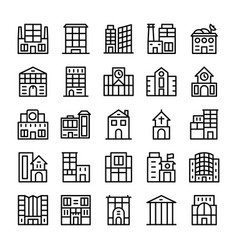 Buildings landmarks line icons 6 vector