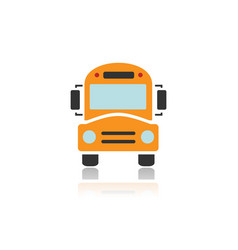 Bus school icon with color and reflection vector