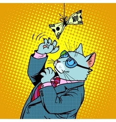 Business cat and money vector image
