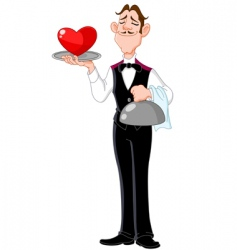 Butler with heart vector