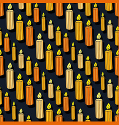 Candles seamless pattern doodle background for vector