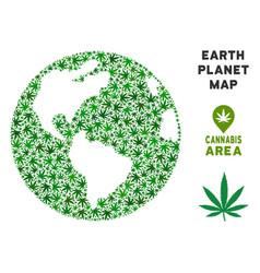 Cannabis composition earth globe vector