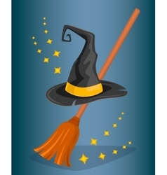 Cap wizard and witch broom Cartoon style vector