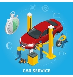 Car repair service center Tire service flat set vector