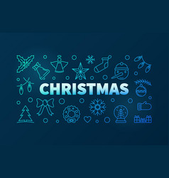 christmas blue linear horizontal vector image
