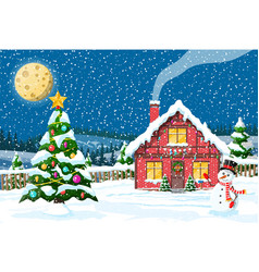 Christmas new year winter landscape vector