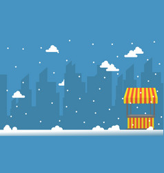 City background with snow and street stall vector