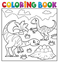 coloring book dinosaur subject image 2 vector image