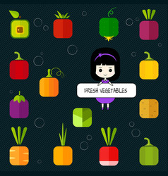 Cute chibi girl and square flat vegetable icon set vector