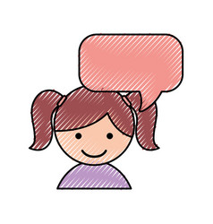 Cute little girl with speech bubble vector