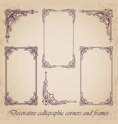 Decorative calligraphic corners and frames vector