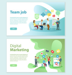 digital marketing and team job internet web pages vector image