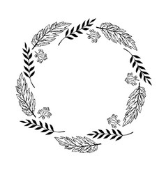 Doodle monochrome berry and leaf circle frame vector