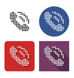 Dotted icon handset in four variants with vector