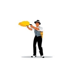 Dual wield sign Man with two guns shooting vector image