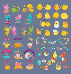 Easter design elements with bunny chick vector