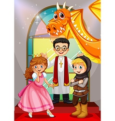 Fairytales characters in the church vector