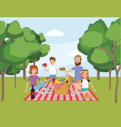 family together with basket picnic and trees vector image