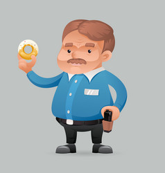 fat policeman security guard with donut icon retro vector image