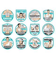 First aid bandage traumatology emergency icons vector