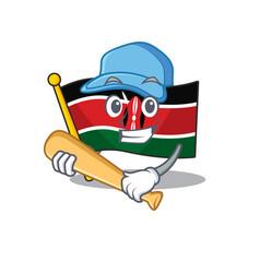 Flag kenya playing baseball cartoon with character vector