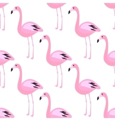 Flamingo seamless pattern Pink exotic bird vector