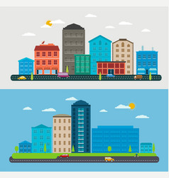 Flat design urban landscape composition city scene vector
