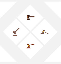 Flat icon hammer set of court tribunal vector