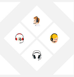Flat icon telemarketing set of headphone vector