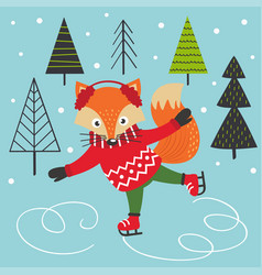 Fox on ice skates vector