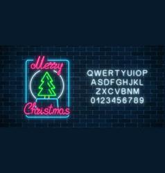 glowing neon christmas sign with christmas tree vector image