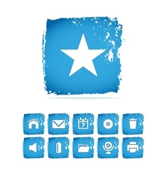 Grunge icon on blue vector image