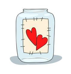 hand drawn of a mason jar with vector image