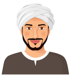 Handsome arab man avatar face with beard vector