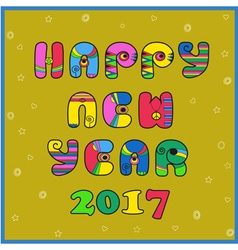 Happy New year 2017 Hippie artistic font vector