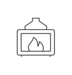 home fireplace line outline icon vector image