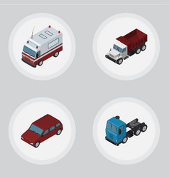 Isometric car set of first-aid truck freight and vector