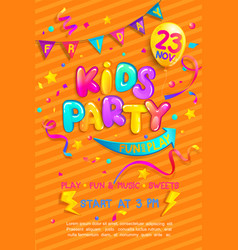 Kids party invitation flyer vector