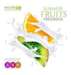 kiwi and orange slices falling in milk or yogurt vector image